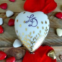boite cœur porcelaine or et initiales décor feuilles d'or