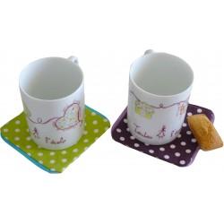 Duo mugs porcelaine cœur et cartables TAE