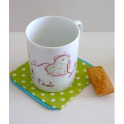 mug porcelaine cœurs et repose sachet de thé