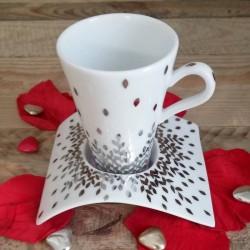 tasse café cône pour expresso en porcelaine de Limoges décor platine