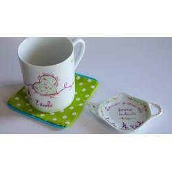 mug porcelaine et repose sachet de thé coeur