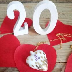 Collier coeur de porcelaine décor feuilles d'or - Noces de porcelaine