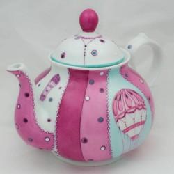 théière porcelaine forme ronde , décor romantique montgolfière