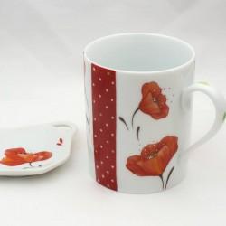 Mug porcelaine de Limoges décor pavots rouge