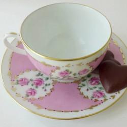 Tasse café porcelaine fine roses et or