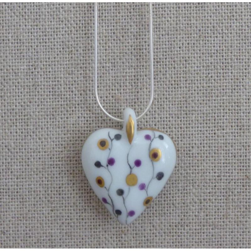 Collier cœur porcelaine Brindilles d'Or