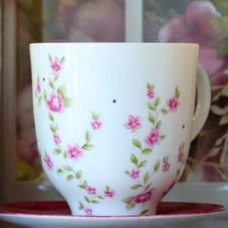 Tasse mug déjeuner porcelaine décor liberty rose