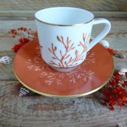 Tasse café porcelaine de Limoges Décor corail et or
