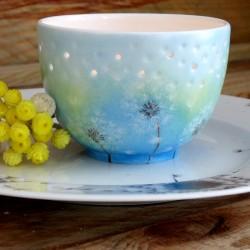 Photophore bleu porcelaine...