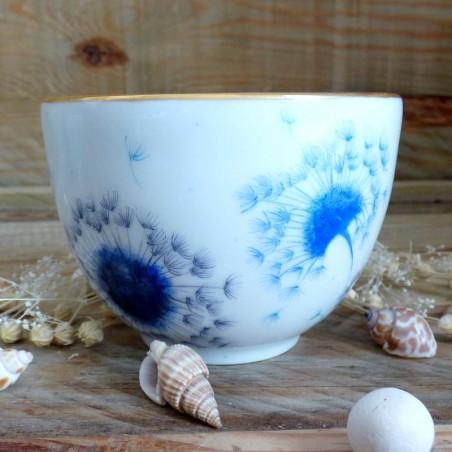 tasse thé porcelaine de Limoges décor pissenlit soufflé