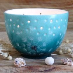 Pot à bougie en porcelaine de Limoges décor pissenlit fond vert émeraude