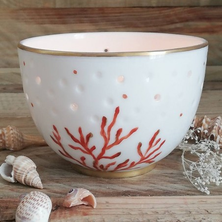 Photophore Porcelaine décor corail - 11 ans de mariage