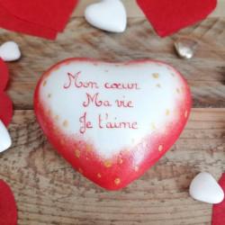 coeur porcelaine rouge -...