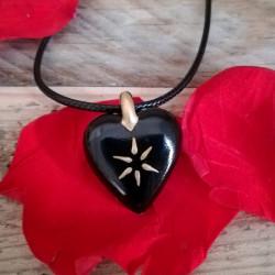 collier cœur porcelaine noir et or cadeau personnalisé