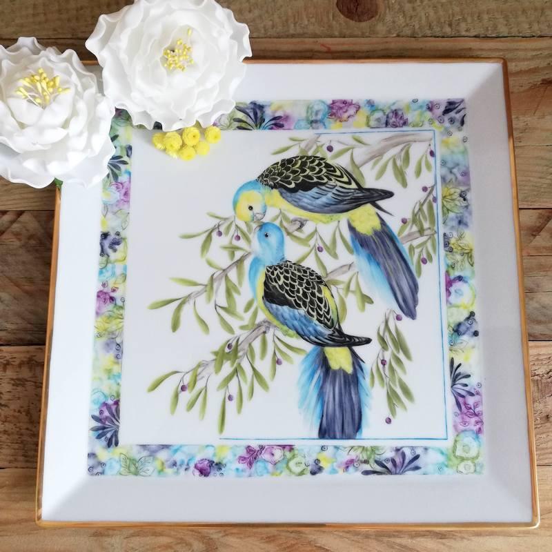 Vide-poches ou plateau carré porcelaine décor oiseaux bleus