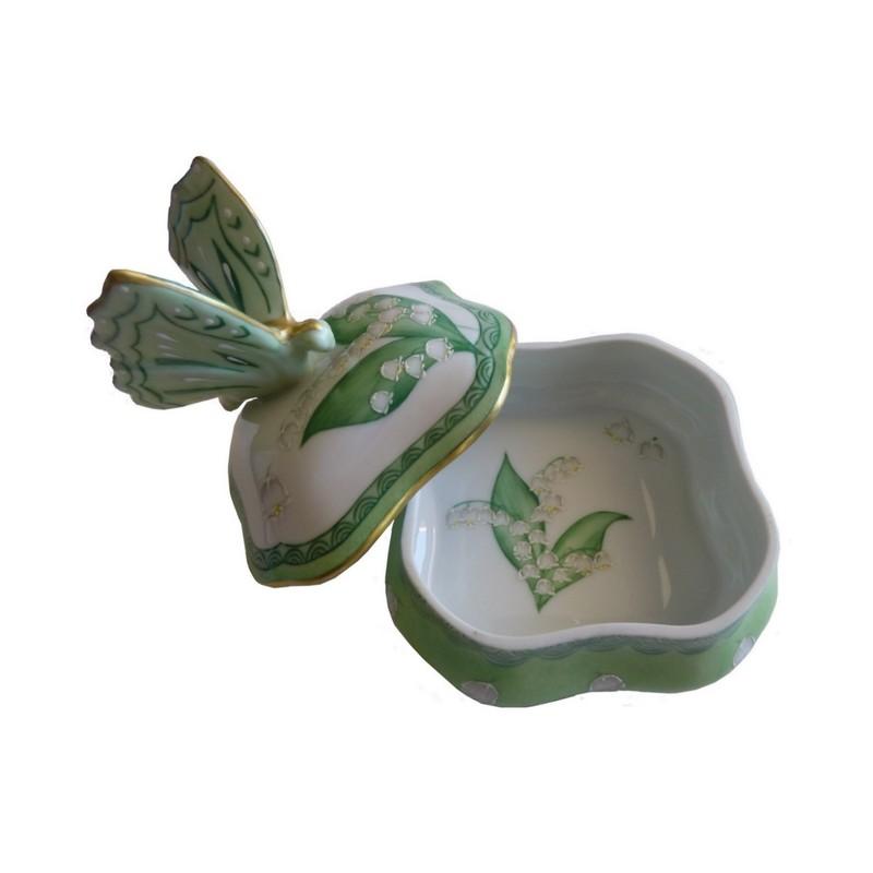 Boite papillon brin de muguet et or