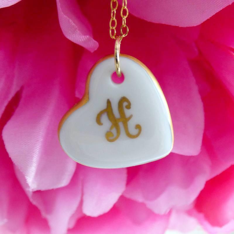 collier cœur porcelaine initiale or - cadeau noces de porcelaine