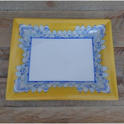 Vide-poches porcelaine motif mandala bleu et jaune soleil