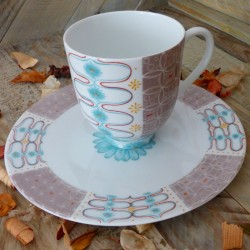 Grande tasse mug vintage et assiette assortie