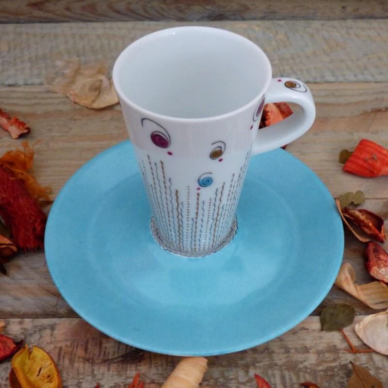 Tasse cône porcelaine or et bleu