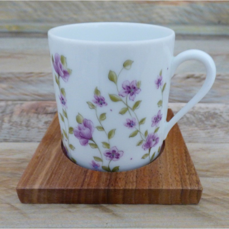 Tasse porcelaine liberty violet et sous tasse bois