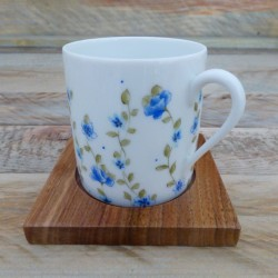 Tasse café porcelaine décor Liberty et sous tasse bois