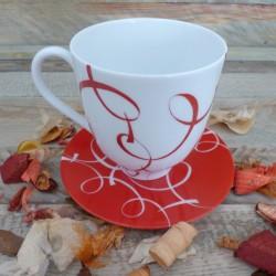 Grande tasse mug porcelaine décor ruban rouge