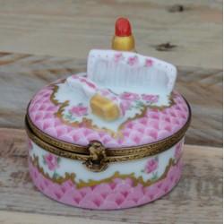 Boite porcelaine miniature rouge à lèvre et brosse