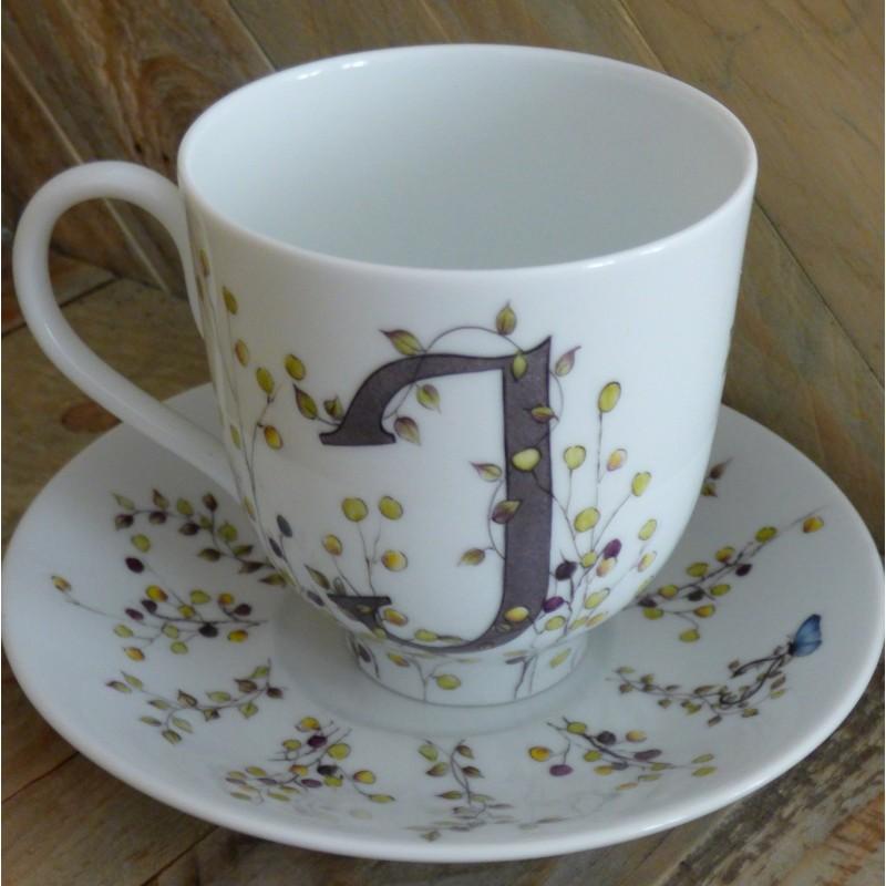 Grande tasse mug porcelaine fine Décor Initiale