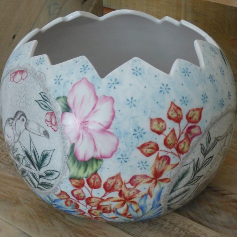 Vase photophore Esprit Jungle Oiseaux et hibiscus