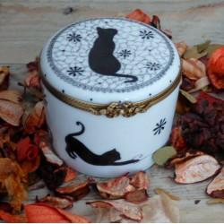 Boite porcelaine pour bougie décor sweety cat