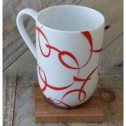 Porcelain mug red ribbon
