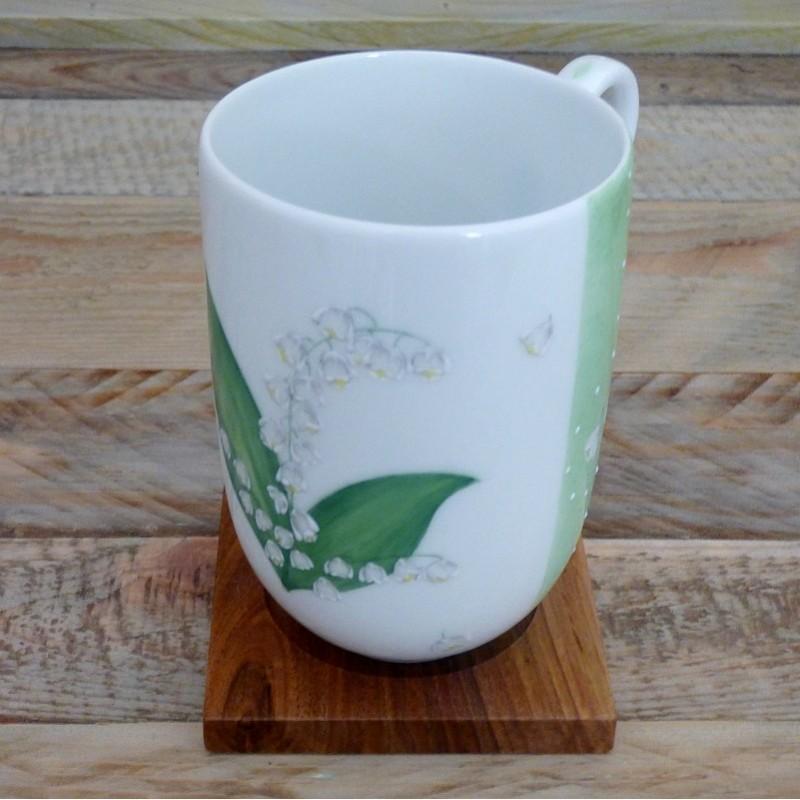 Mug porcelaine décor muguet brin de bonheur