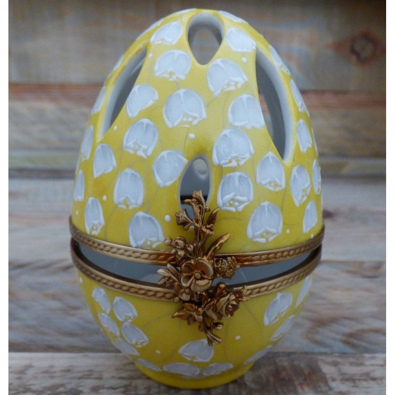 boite oeuf porcelaine jaune diffuseur parfum muguet
