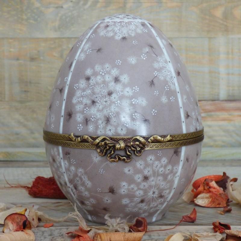 Boite œuf porcelaine grand modèle beige et or