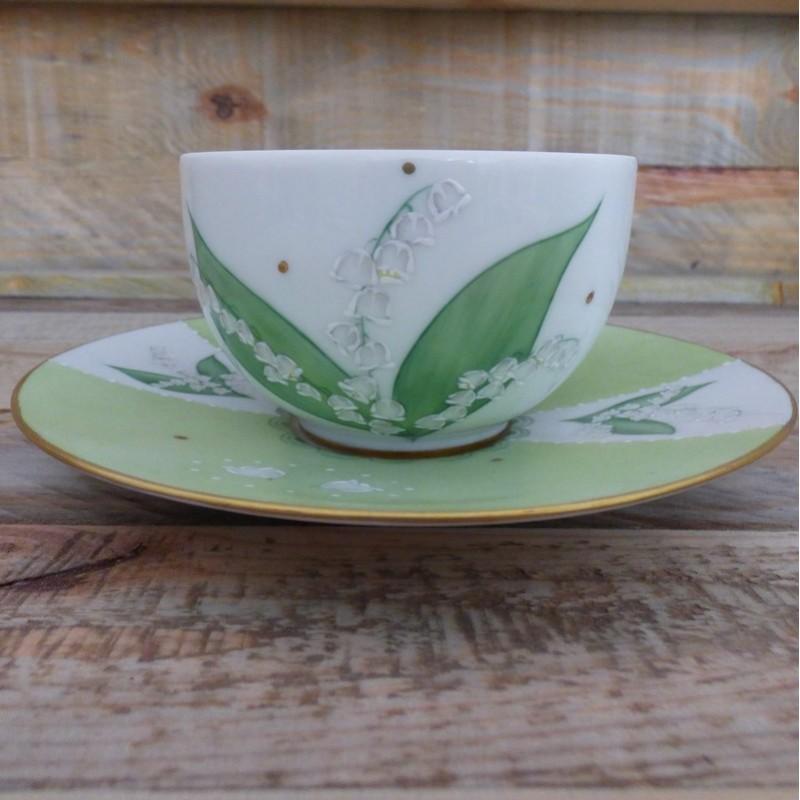 tasse porcelaine fine décor muguet brin de bonheur