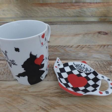 mug et repose sachet de thé porcelaine alice wonderland
