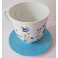 Tasse et sous assiette déjeuner porcelaine décor liberty bleu