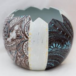Vase porcelaine  bleu graphique et ébène