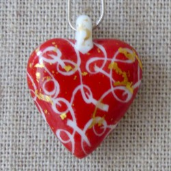 collier coeur rouge porcelaine ruban et or