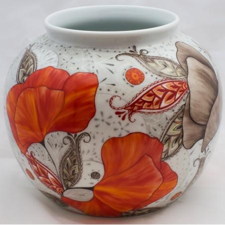Vase boule porcelaine décor passion coquelicot