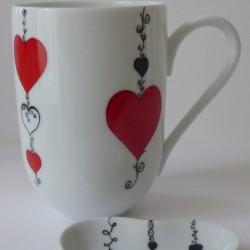 Mug porcelaine cœur rouge