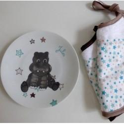 Assiette naissance porcelaine personnalisée