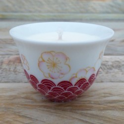 Tasse thé bougie porcelaine japonais fleurs de prunier