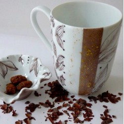 Mug et coupelle porcelaine couleur chocolat