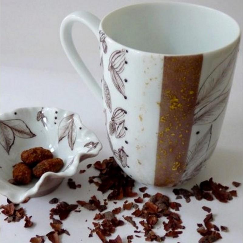 Mug et coupelle porcelaine couleur chocolat