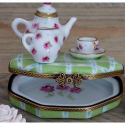 boite bijoux porcelaine fine service tasse thé rose et or