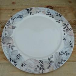 assiette de présentation porcelaine décor bleu gris feuille
