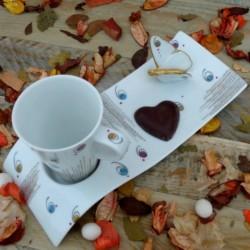 Tasse cone porcelaine café gourmand papillon et or