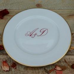Assiette porcelaine fine décor initiales et filet or